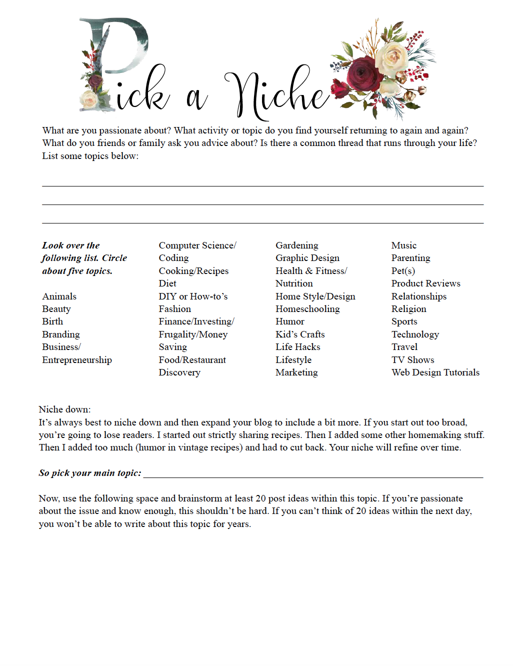 Free printable 'pick a niche' worksheet, part of how to build a blog post.