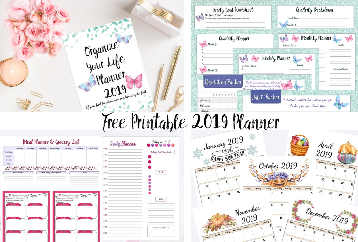 Free Printable 2019 Planner Goals Planner 2019 Calendars More