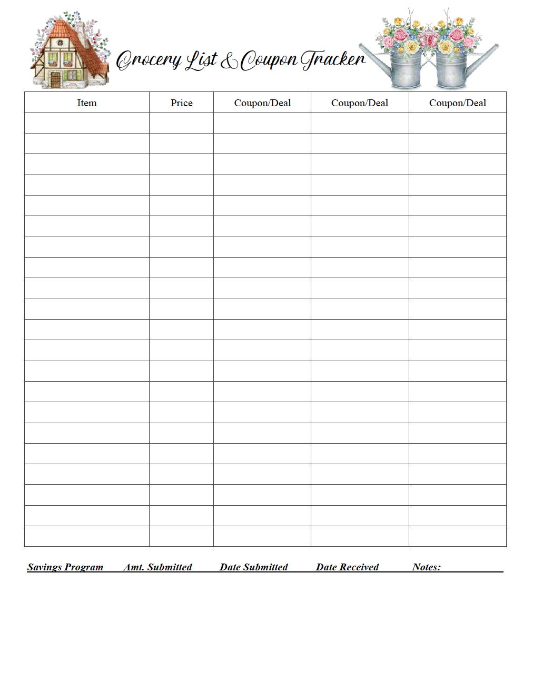 menu grocery printables