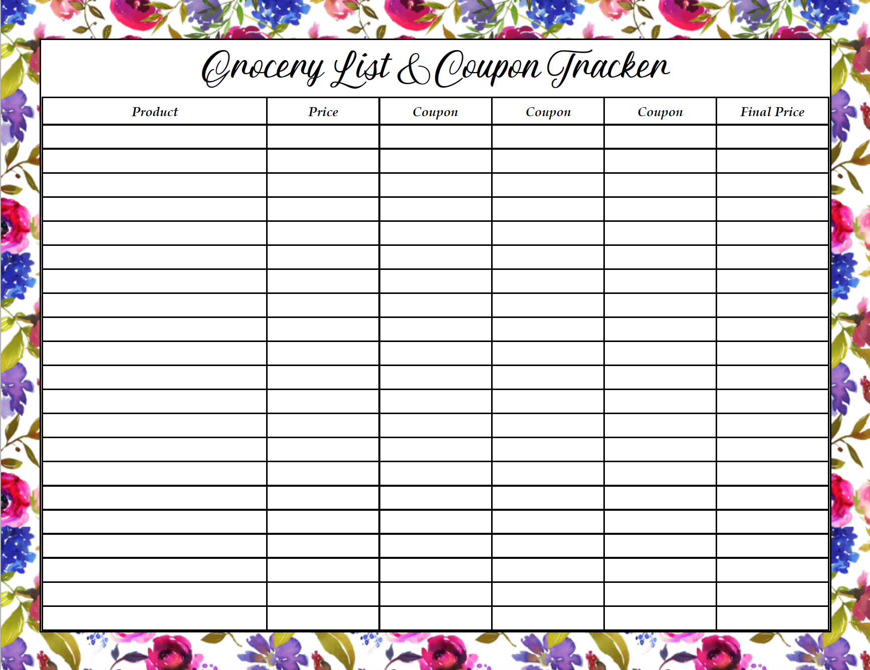 Free printable grocery list and coupon tracker.