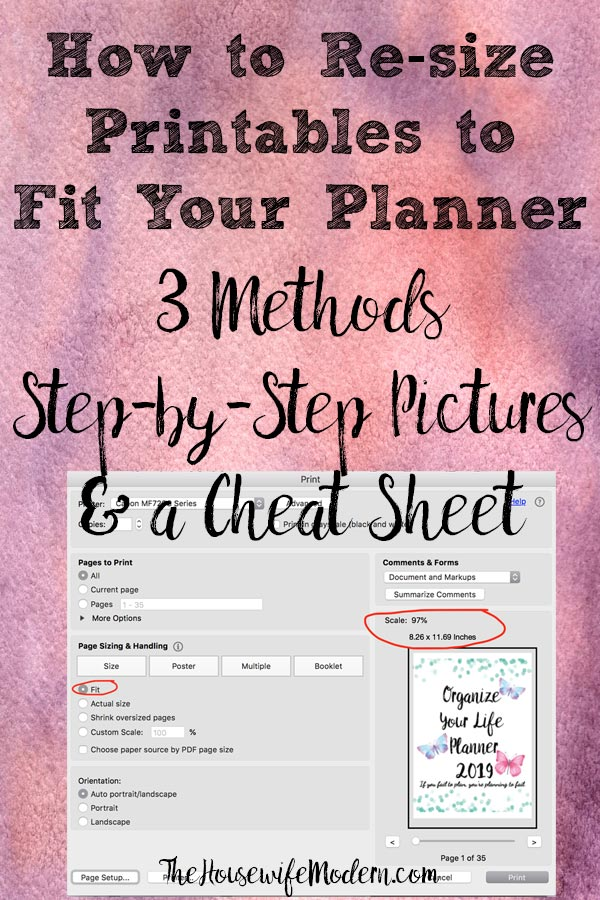 How to Resize Printables to Fit Your Planner. 3 different methods, step-by-step instructions to make all those pretty custom printables fit into your personal planner! #printable #printables #planner #planners