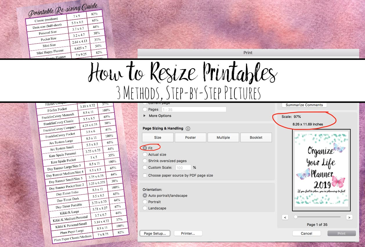 How to Resize Printables to Fit Your Planner. 3 different methods, step-by-step instructions to make all those pretty custom printables fit into your personal planner!