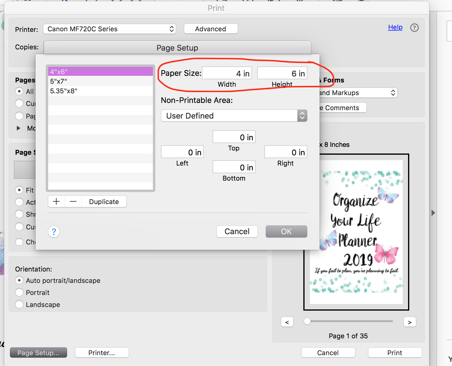 "Under ""Page Setup"", select ""Manage Custom Size"". Then input your planner size. You can also add margin. Select okay. Then select ""fit"" under ""Page Sizing & Handling"". Print."