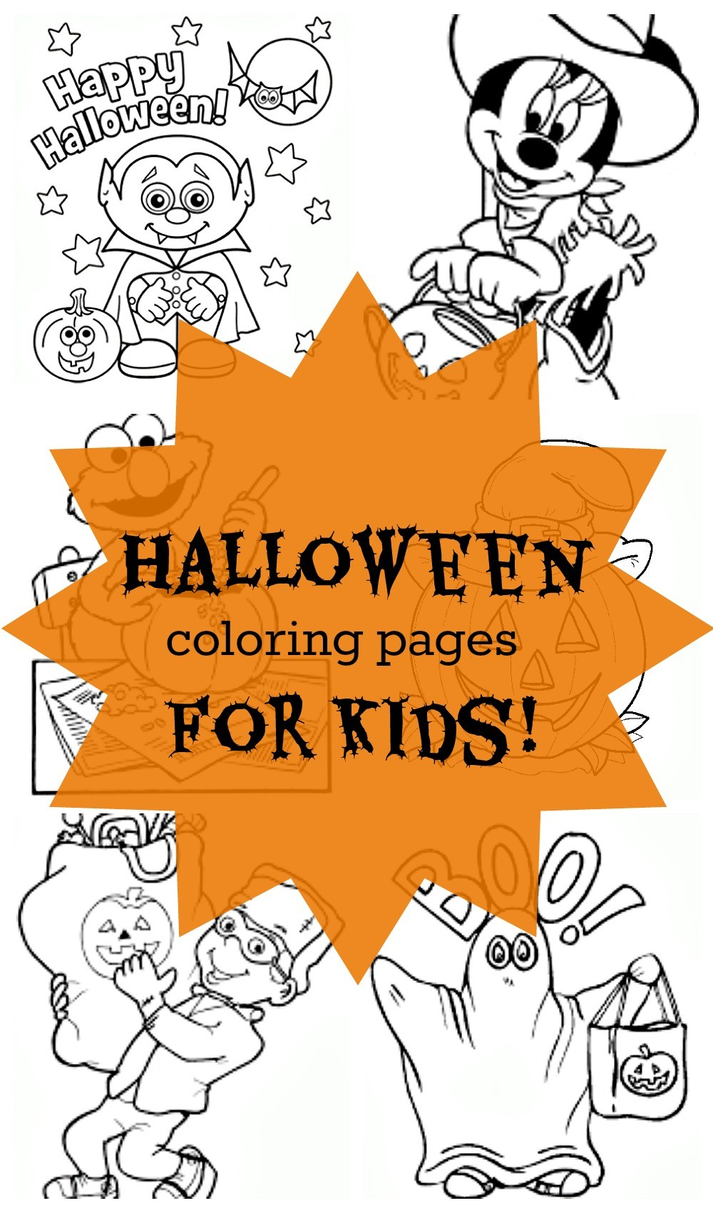 Free Halloween coloring pages for kids. Part of Free Halloween Printables Round-up: Over 100 Free Printables.