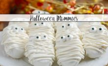 Halloween Mummies. White chocolate, peanut butter filling, decorated for Halloween. No-bake dessert that is cute and so delicious!