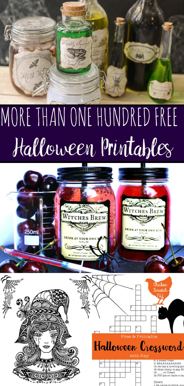 Free Halloween Printable Round-up. Over 100 free printables. Halloween decor, activities, food, labels, decorations, drinks, and more! #halloween #printable #halloweenprintable #free #freeprintable