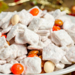 Close-up of Pumpkin Pie Spice Muddy Buddies. Cinnamon Toast Crunch, white chocolate, and pumpkin pie spice combine to make a delicious, easy, fall treat. #muddybuddies #puppychow #pumpkin #pumpkinspice #pumpkinpiespice