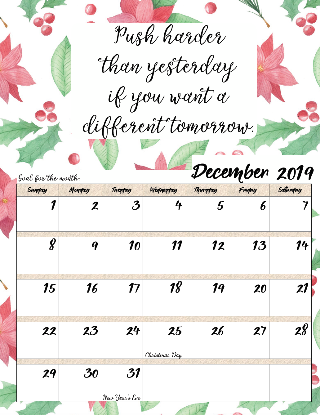 December 2019 Calendar Printable Quote Free Printable 2019 Monthly Motivational Calendars