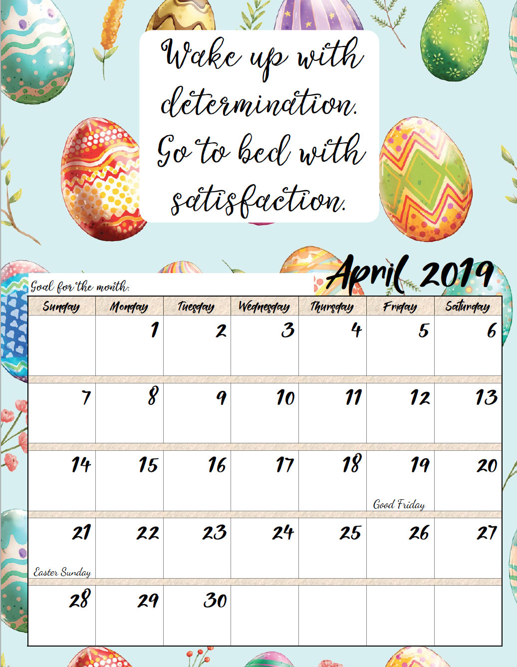 April. FREE Printable 2019 Monthly Motivational Calendars. Space for setting goals, different motivational quote each month, holidays marked. #free #freeprintable #printable #calendar #motivation