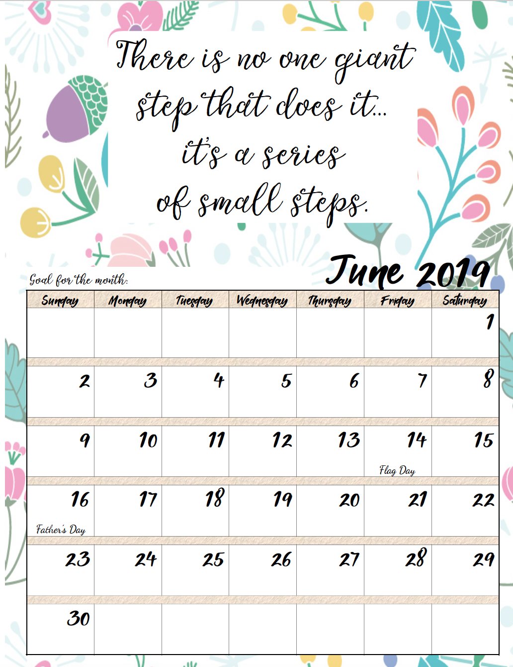 June. FREE Printable 2019 Monthly Motivational Calendars. Space for setting goals, different motivational quote each month, holidays marked. #free #freeprintable #printable #calendar #motivation