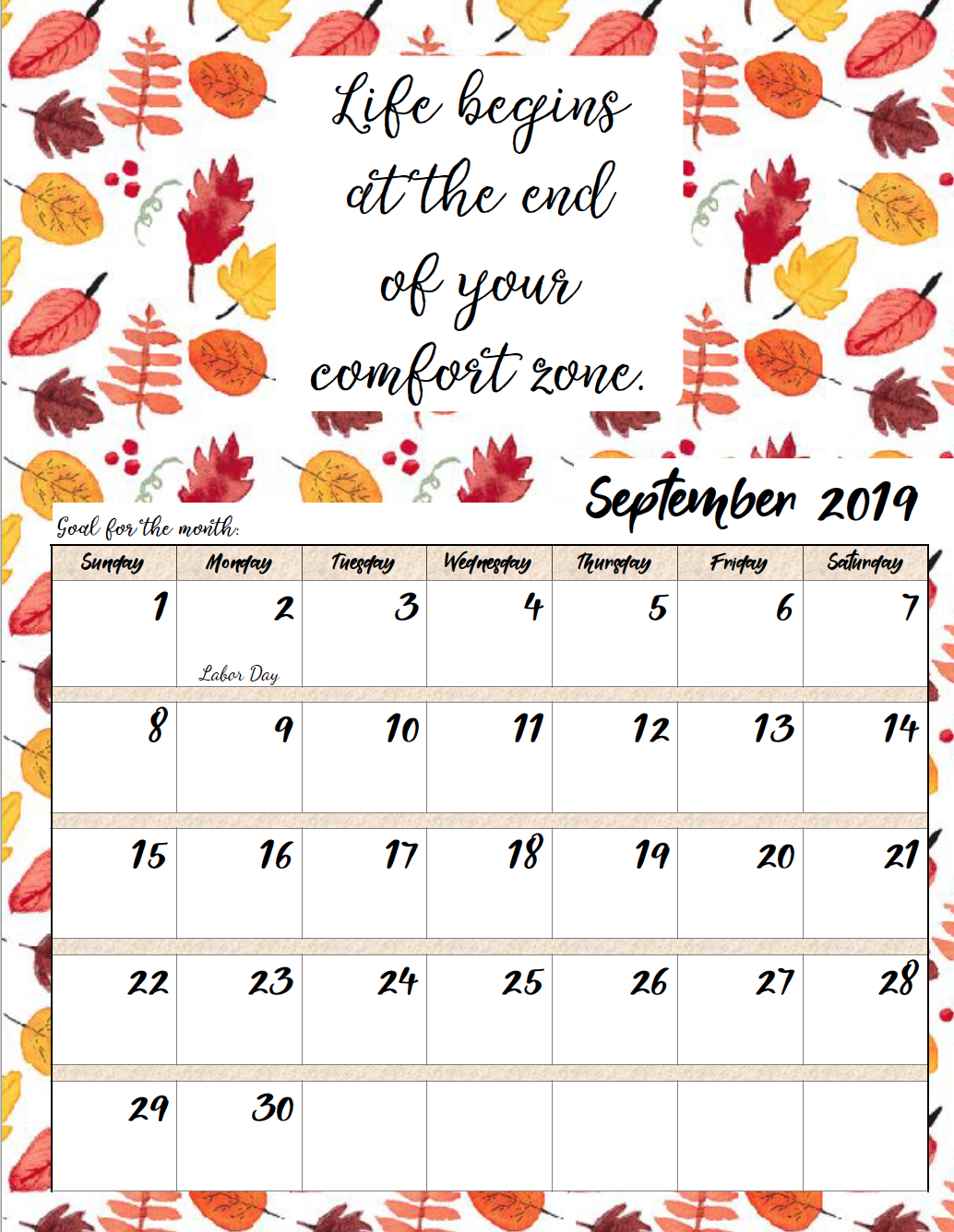 September. FREE Printable 2019 Monthly Motivational Calendars. Space for setting goals, different motivational quote each month, holidays marked. #free #freeprintable #printable #calendar #motivation