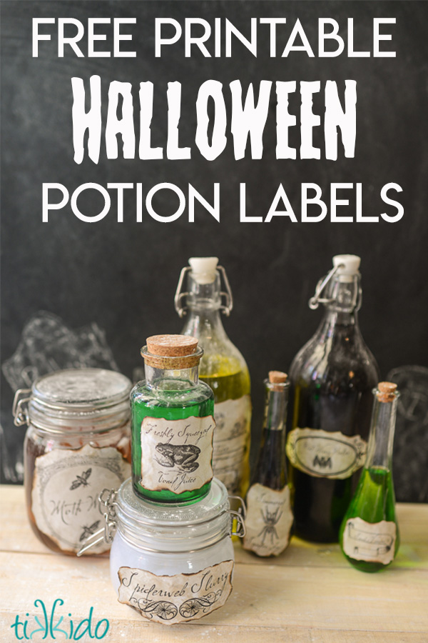 Free printable Halloween potion labels. Part of Free Halloween Printables Round-up: Over 100 Free Printables.