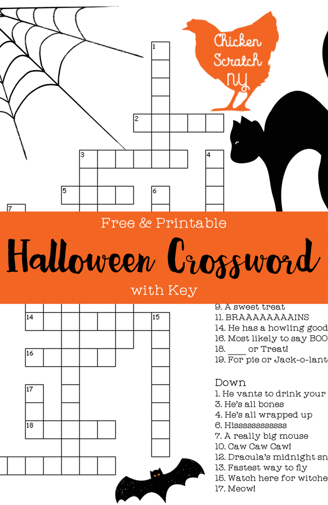 Free printable Halloween crossword. Part of Free Halloween Printables Round-up: Over 100 Free Printables.