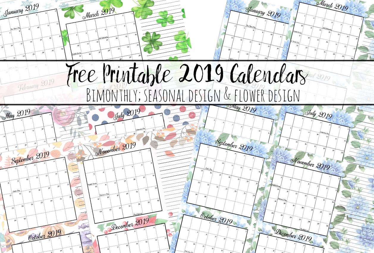 Free Printable 2019 Bimonthly Calendars 2 Designs