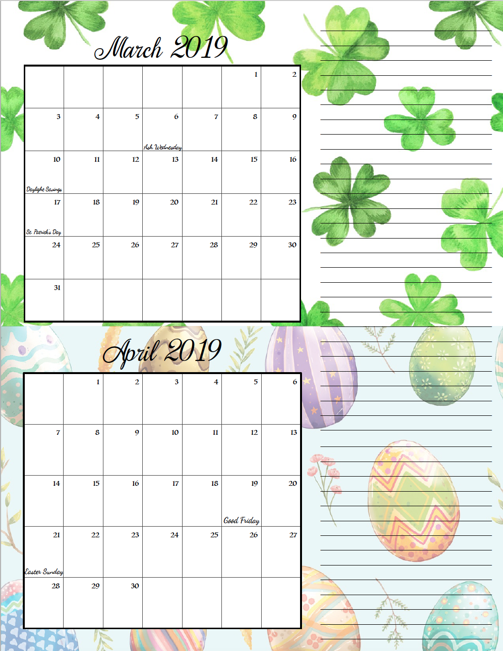 March/April. FREE Printable 2019 Bimonthly Calendars. Space for notes, holidays marked. 2 different designs! #free #freeprintable #printable #calendar #freecalendar #bimonthly #freeprintablecalendar