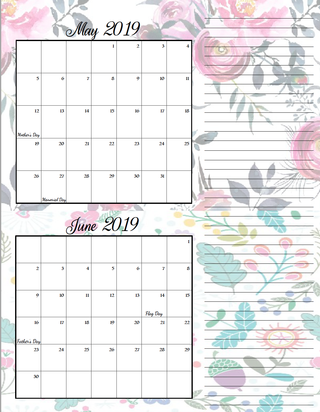 May/June. FREE Printable 2019 Bimonthly Calendars. Space for notes, holidays marked. 2 different designs! #free #freeprintable #printable #calendar #freecalendar #bimonthly #freeprintablecalendar