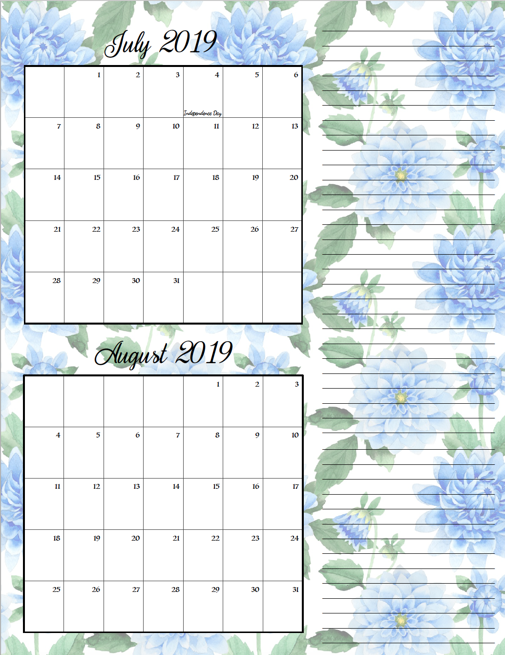 July/August. FREE Printable 2019 Bimonthly Calendars. Space for notes, holidays marked. 2 different designs! #free #freeprintable #printable #calendar #freecalendar #bimonthly #freeprintablecalendar