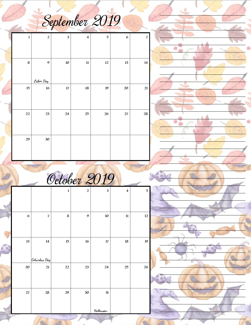 September/October. FREE Printable 2019 Bimonthly Calendars. Space for notes, holidays marked. 2 different designs! #free #freeprintable #printable #calendar #freecalendar #bimonthly #freeprintablecalendar