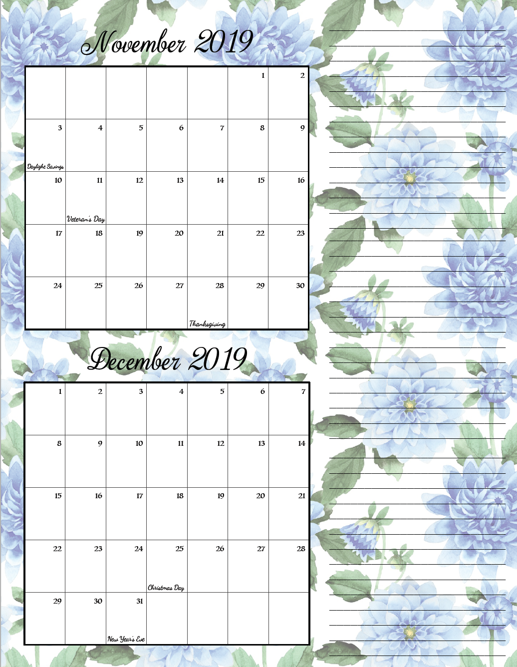 November/December. FREE Printable 2019 Bimonthly Calendars. Space for notes, holidays marked. 2 different designs! #free #freeprintable #printable #calendar #freecalendar #bimonthly #freeprintablecalendar