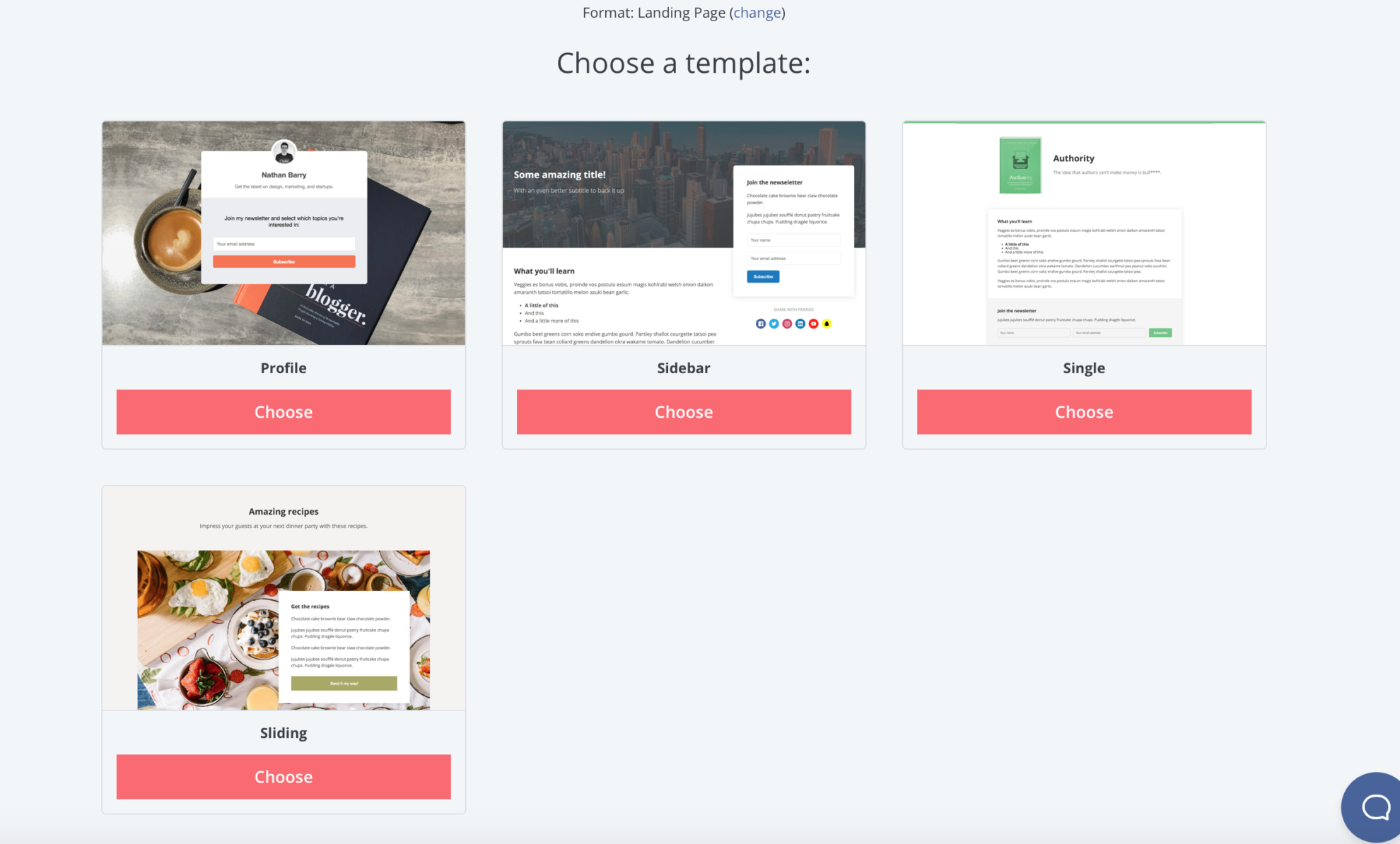 "Once you click on ""Landing Page"", you'll have the option of picking which design you prefer for your landing page."