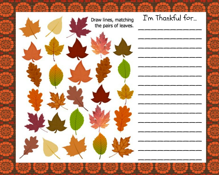 Thanksgiving Kids Placemat. Part of Free Thanksgiving Printables Round-Up. Over 50 free Thanksgiving printables including decor, planners, labels, food decoration, and more! #thanksgiving #free #printable #freeprintable #thanksgivingprintable