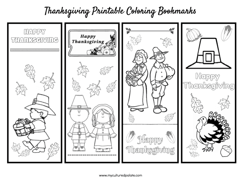 Thanksgiving Coloring Bookmarks. Part of Free Thanksgiving Printables Round-Up. Over 50 free Thanksgiving printables including decor, planners, labels, food decoration, and more! #thanksgiving #free #printable #freeprintable #thanksgivingprintable