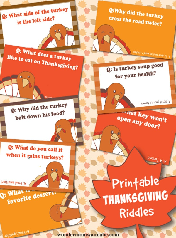 Thanksgiving Riddles. Part of Free Thanksgiving Printables Round-Up. Over 50 free Thanksgiving printables including decor, planners, labels, food decoration, and more! #thanksgiving #free #printable #freeprintable #thanksgivingprintable