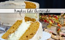 Pumpkin Cake Cheesecake with Cinnamon Cream Cheese Frosting. Delicious, moist pumpkin cake layered with cheesecake, and covered with rich cinnamon cream cheese frosting.