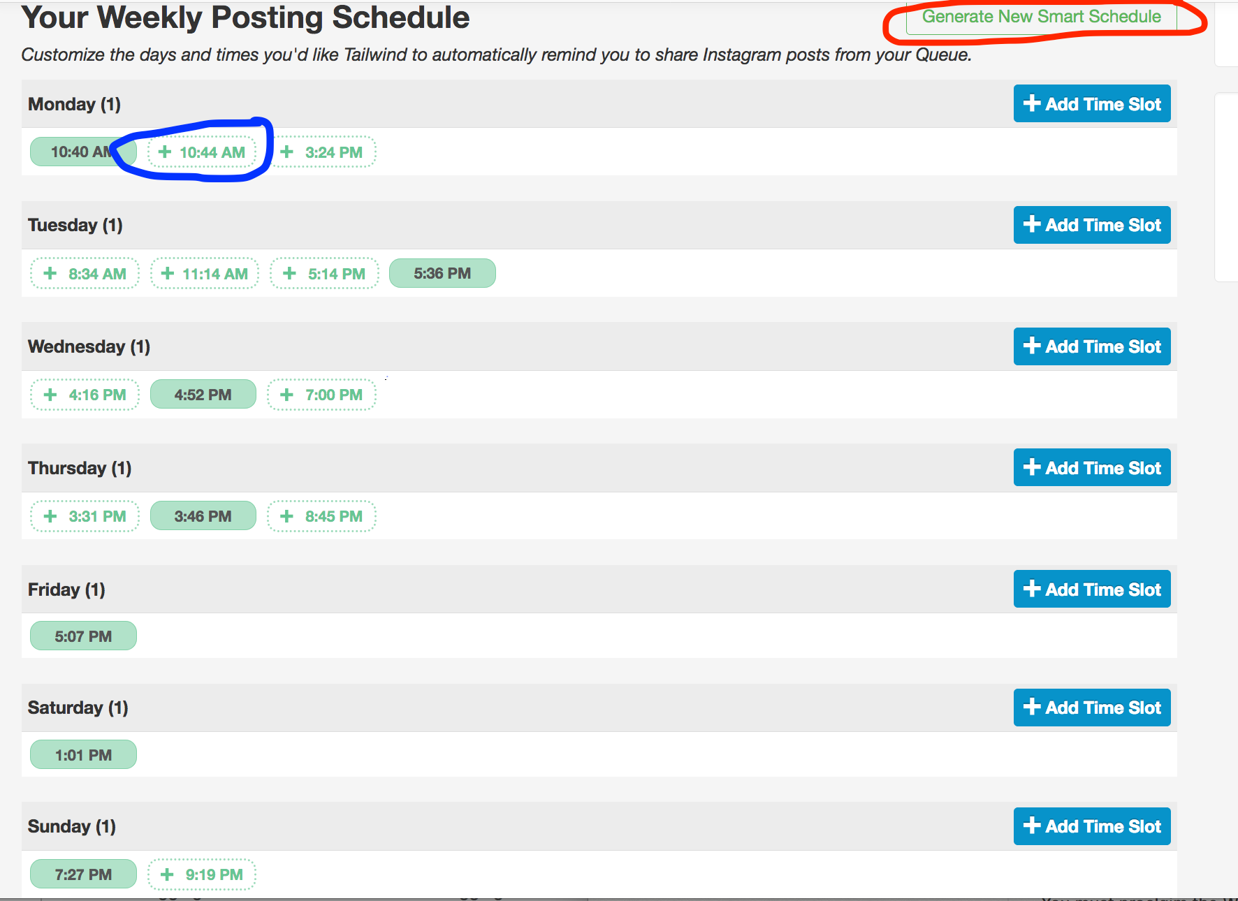 """In """"Your Schedule"""" you can see the time slots you're using in green. You can add """"suggested"""" time slots (circled in blue) or generate a new smart schedule (circled in red)."""