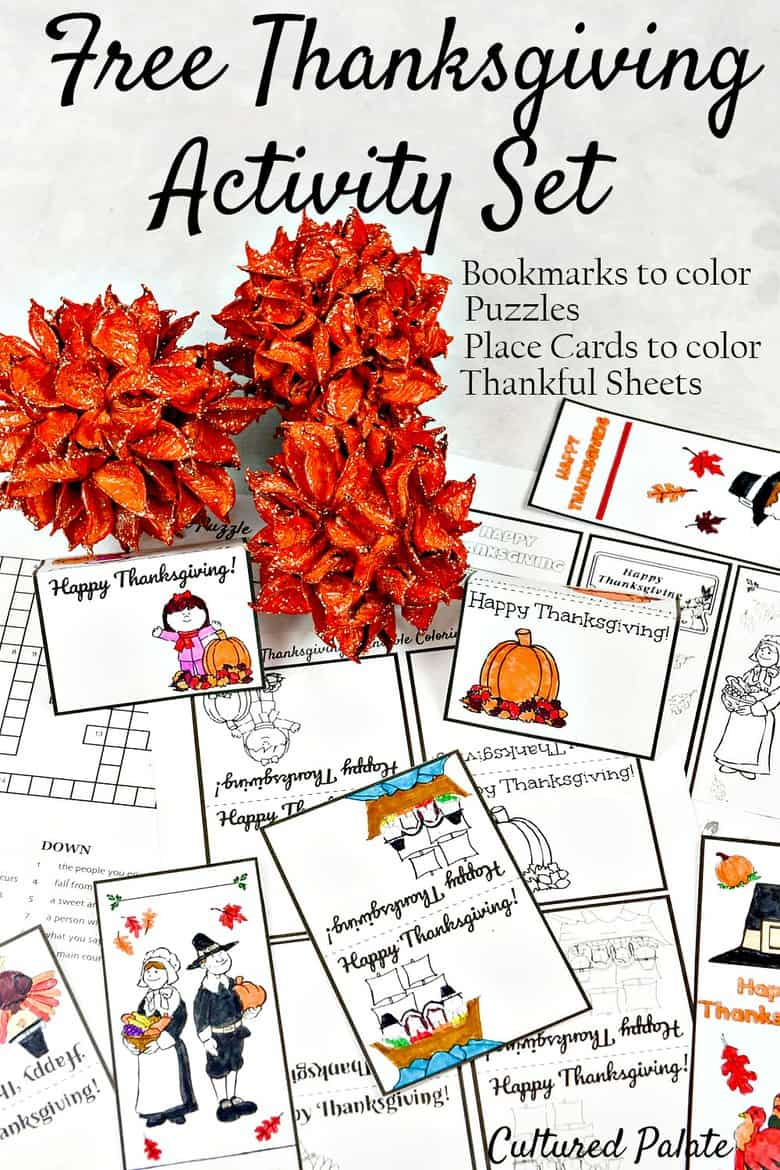 Thanksgiving Activity Set. Part of Free Thanksgiving Printables Round-Up. Over 50 free Thanksgiving printables including decor, planners, labels, food decoration, and more! #thanksgiving #free #printable #freeprintable #thanksgivingprintable