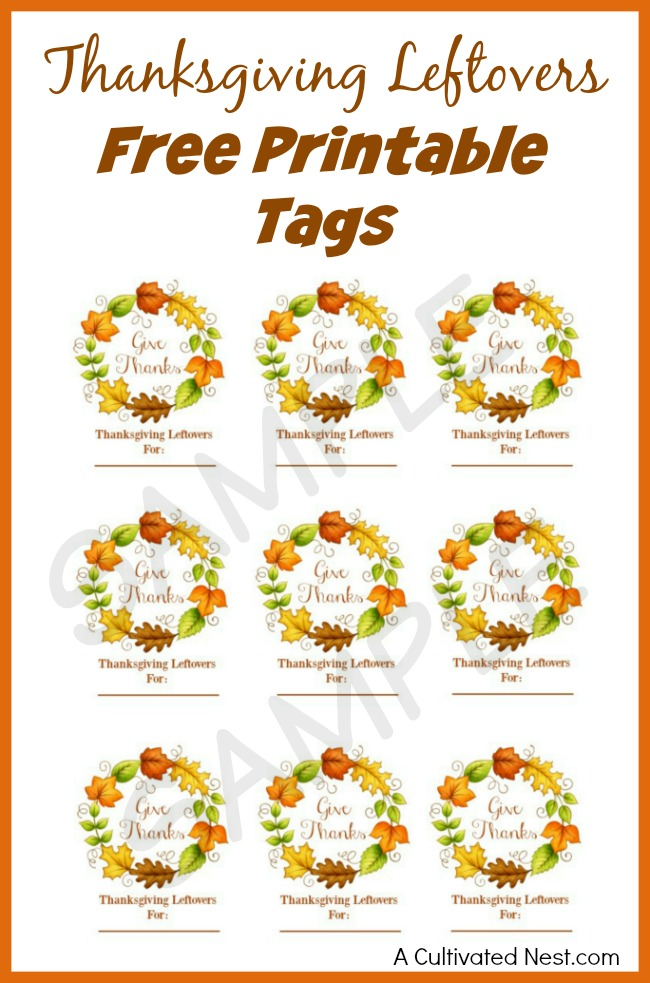 Thanksgiving Leftover Free Tags. Part of Free Thanksgiving Printables Round-Up. Over 50 free Thanksgiving printables including decor, planners, labels, food decoration, and more! #thanksgiving #free #printable #freeprintable #thanksgivingprintable
