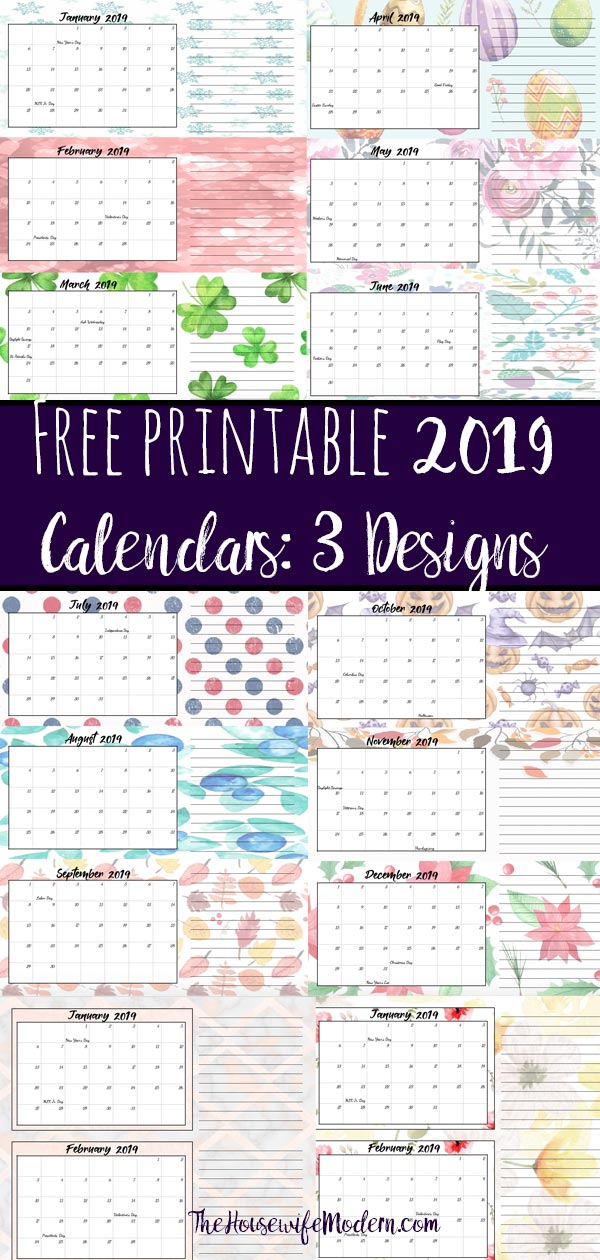 Free Printable 2019 Quarterly Calendars with Holidays: 3 Designs. Holiday theme, bright and floral theme, and classic elegant theme- choose which works for you! #free #printable #freeprintable #calendars #2019calendars