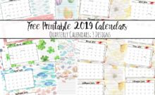 Free Printable 2019 Quarterly Calendars with Holidays: 3 Designs. Holiday theme, bright and floral theme, and classic elegant theme- choose which works for you!