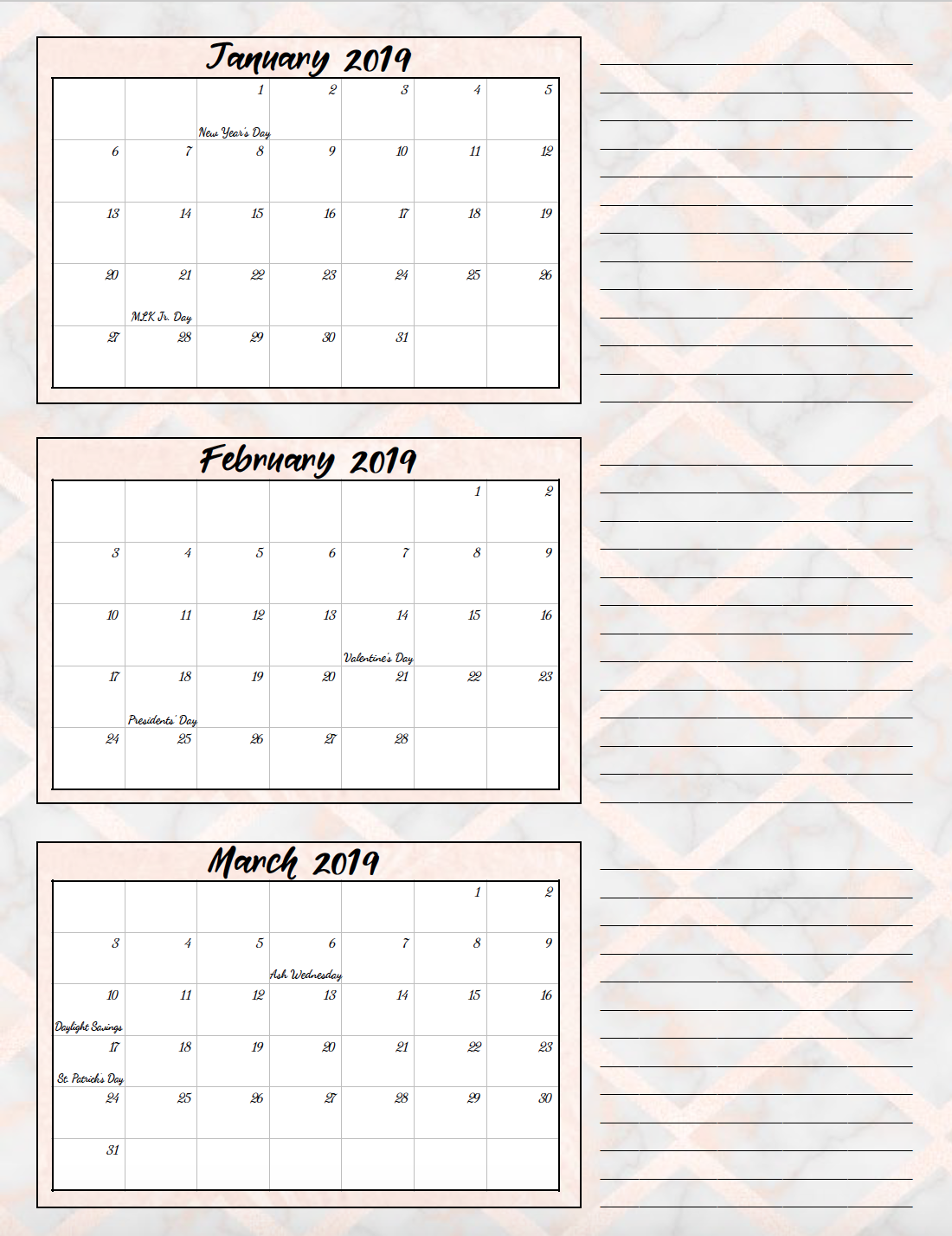 Jan-March 2019. Free Printable 2019 Quarterly Calendars with Holidays: 3 Designs. Holiday theme, bright and floral theme, and classic elegant theme- choose which works for you! #free #printable #freeprintable #calendars #2019calendars