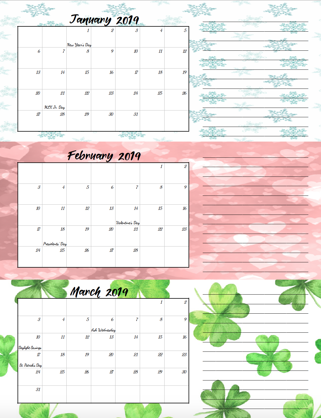 Quarterly Calendar Design : Free printable quarterly calendars with holidays