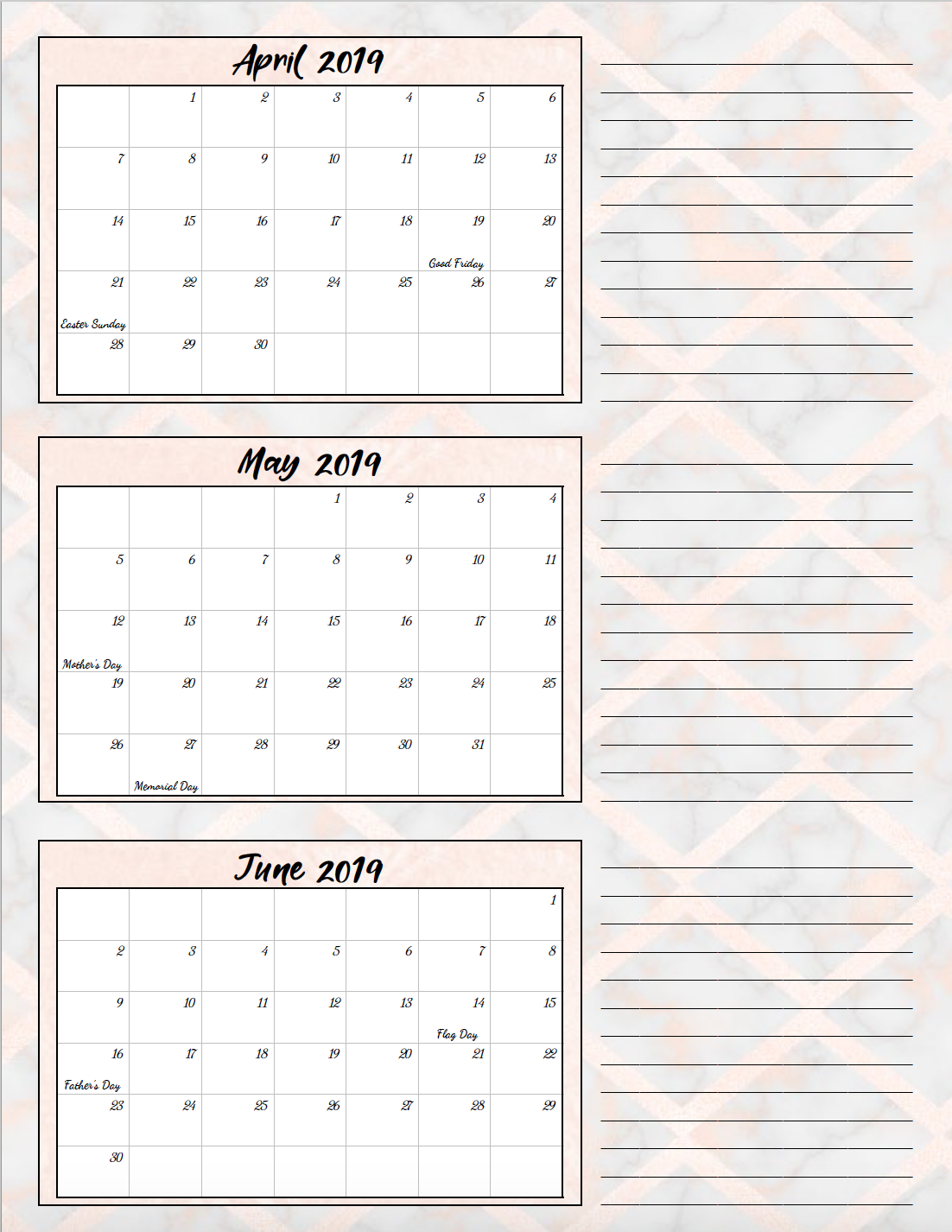 Quarterly Calendar Template 2019 Free Printable 2019 Quarterly Calendars with Holidays: 3 Designs