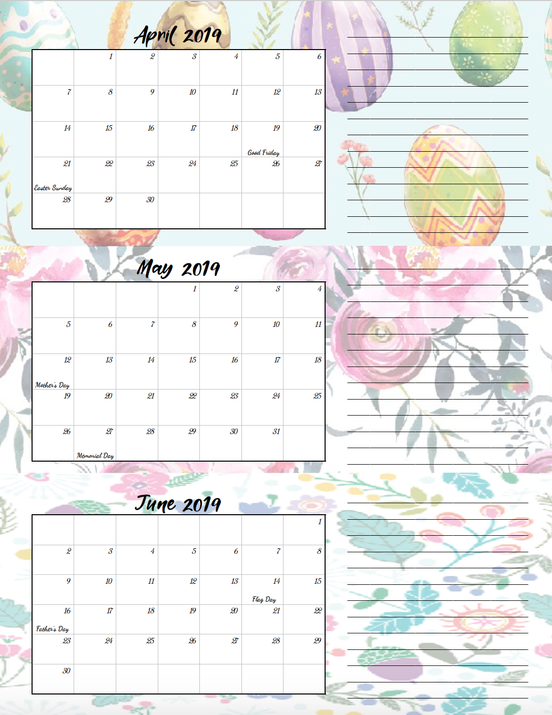 April-June 2019. Free Printable 2019 Quarterly Calendars with Holidays: 3 Designs. Holiday theme, bright and floral theme, and classic elegant theme- choose which works for you! #free #printable #freeprintable #calendars #2019calendars
