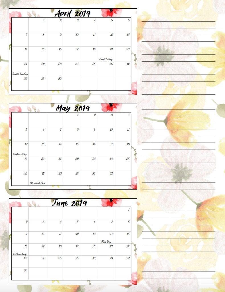 Tiny Home Designs: Free Printable 2019 Quarterly Calendars With Holidays: 3