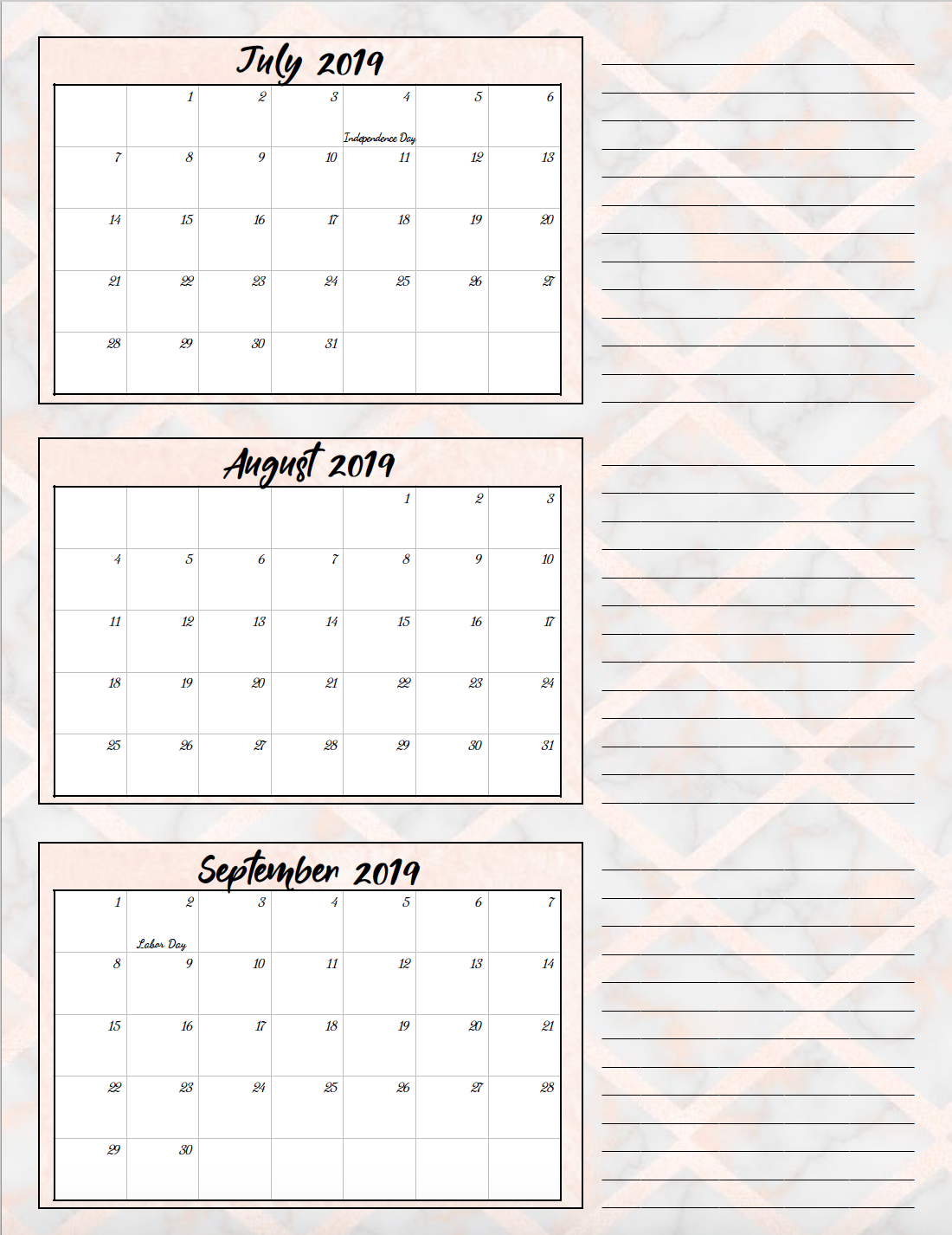 Free Printable 2019 Quarterly Calendars with Holidays: 3 ...