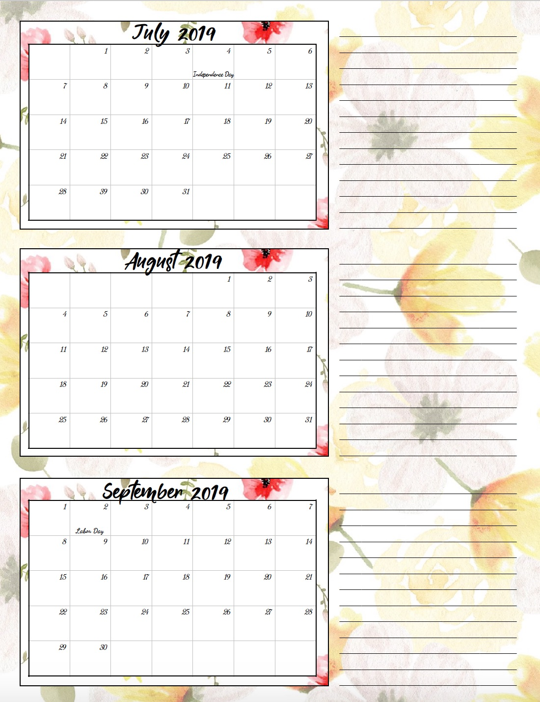 July-Sept. 2019. Free Printable 2019 Quarterly Calendars with Holidays: 3 Designs. Holiday theme, bright and floral theme, and classic elegant theme- choose which works for you! #free #printable #freeprintable #calendars #2019calendars
