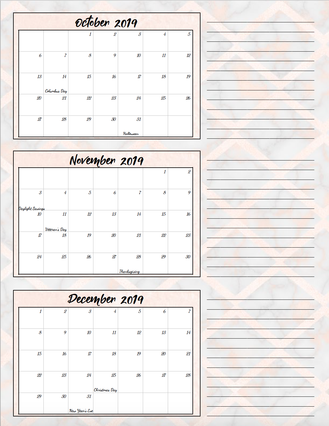 Oct-Dec. 2019. Free Printable 2019 Quarterly Calendars with Holidays: 3 Designs. Holiday theme, bright and floral theme, and classic elegant theme- choose which works for you! #free #printable #freeprintable #calendars #2019calendars