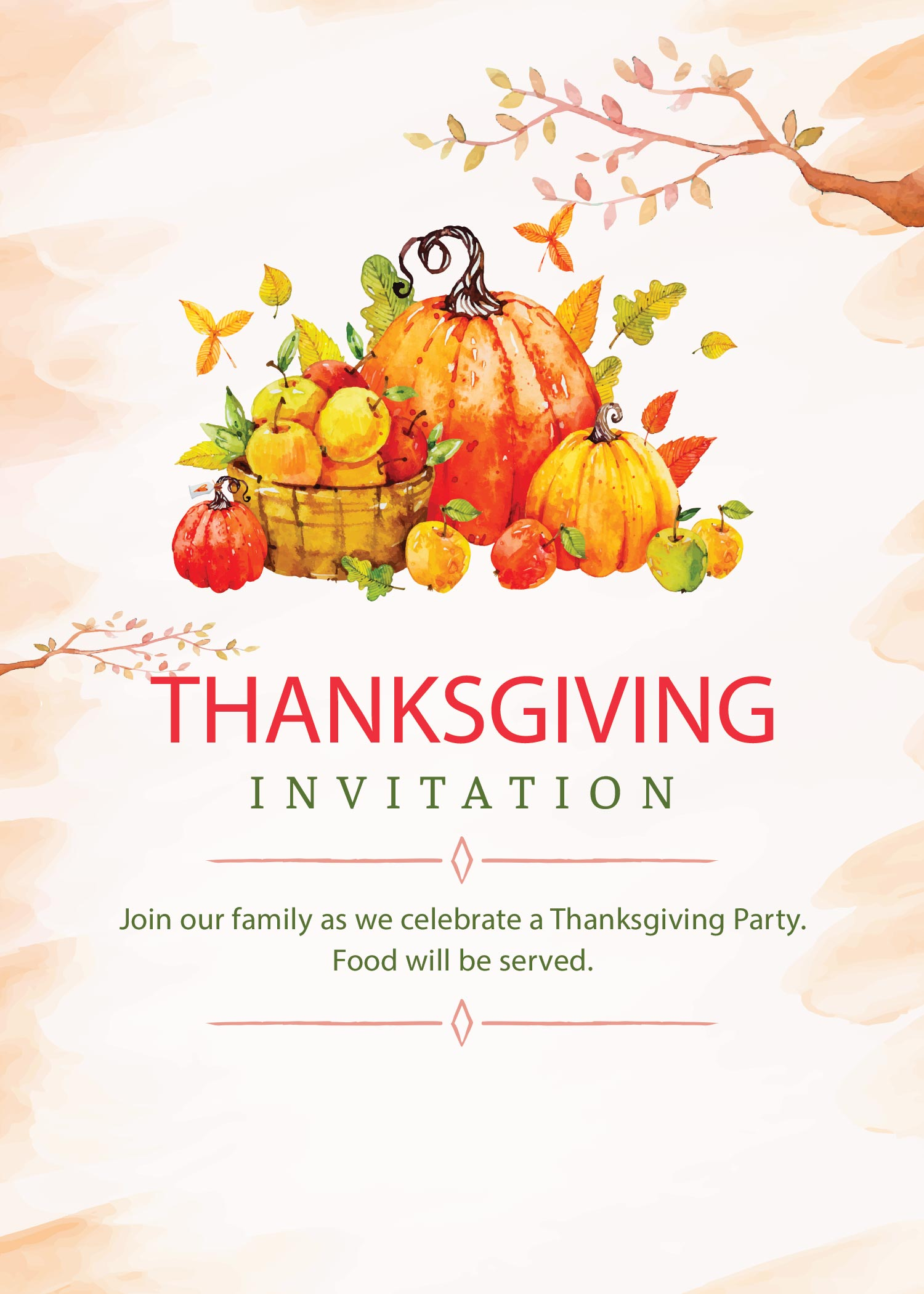 Light version. Free Printable Thanksgiving Invitations: 2 Beautiful Designs. Editable (in Photoshop) or print as is and write your personal details. #free #printable #freeprintable #thanksgiving #thanksgivinginvitations