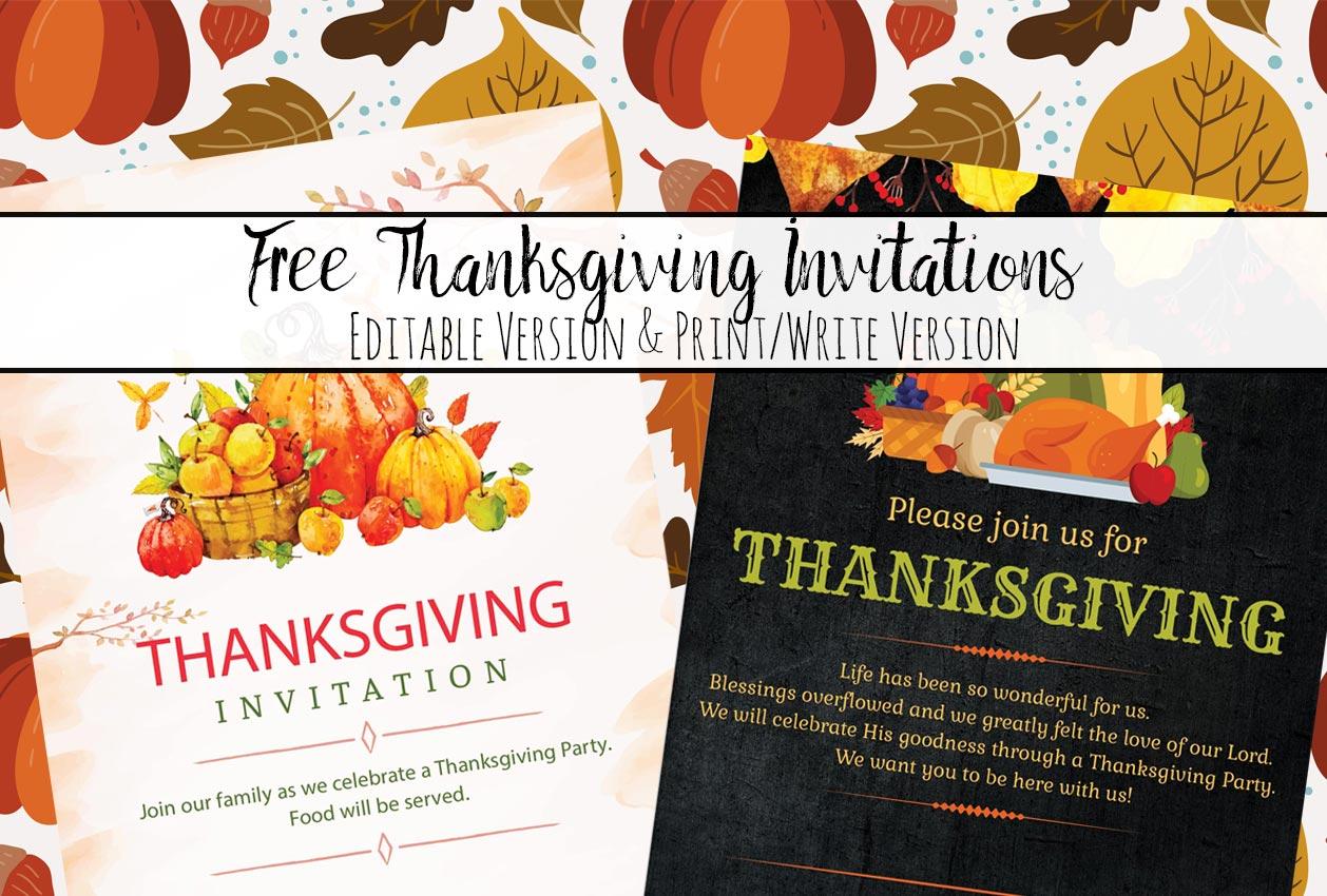 free printable thanksgiving invitations  editable or print as is