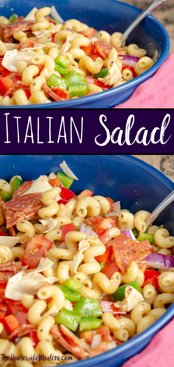 Italian Pasta Salad. Quick and easy. Favorite tangy Italian flavors- pasta, provolone, pepperoni, vegetables, and easy homemade vinaigrette. #italian #italianpastasalad #pastasalad #sidedish #tangy #provolone #pepperoni