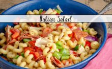 Italian Pasta Salad. Quick and easy. Favorite tangy Italian flavors- pasta, provolone, pepperoni, vegetables, and easy homemade vinaigrette.