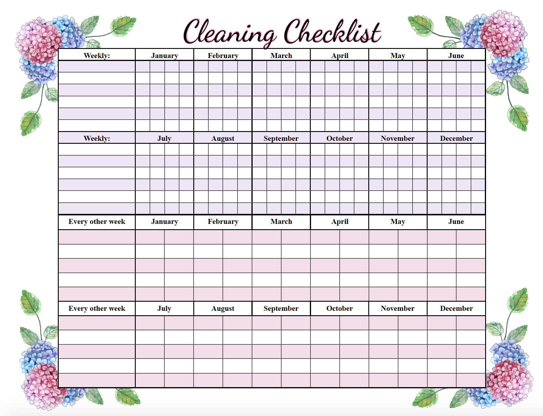 Free Printable Cleaning Checklists: Weekly And Deep