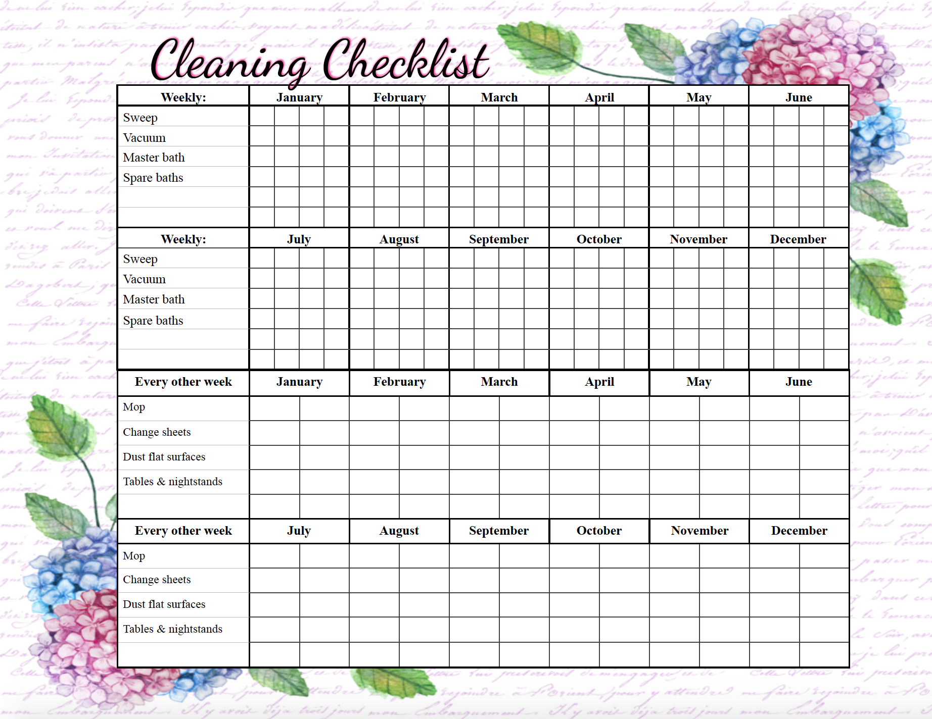 Pre-filled out cleaning checklist. Free printable cleaning checklists. Pre-filled and blanks. Regular & deep-cleaning. Great for kids' chores!