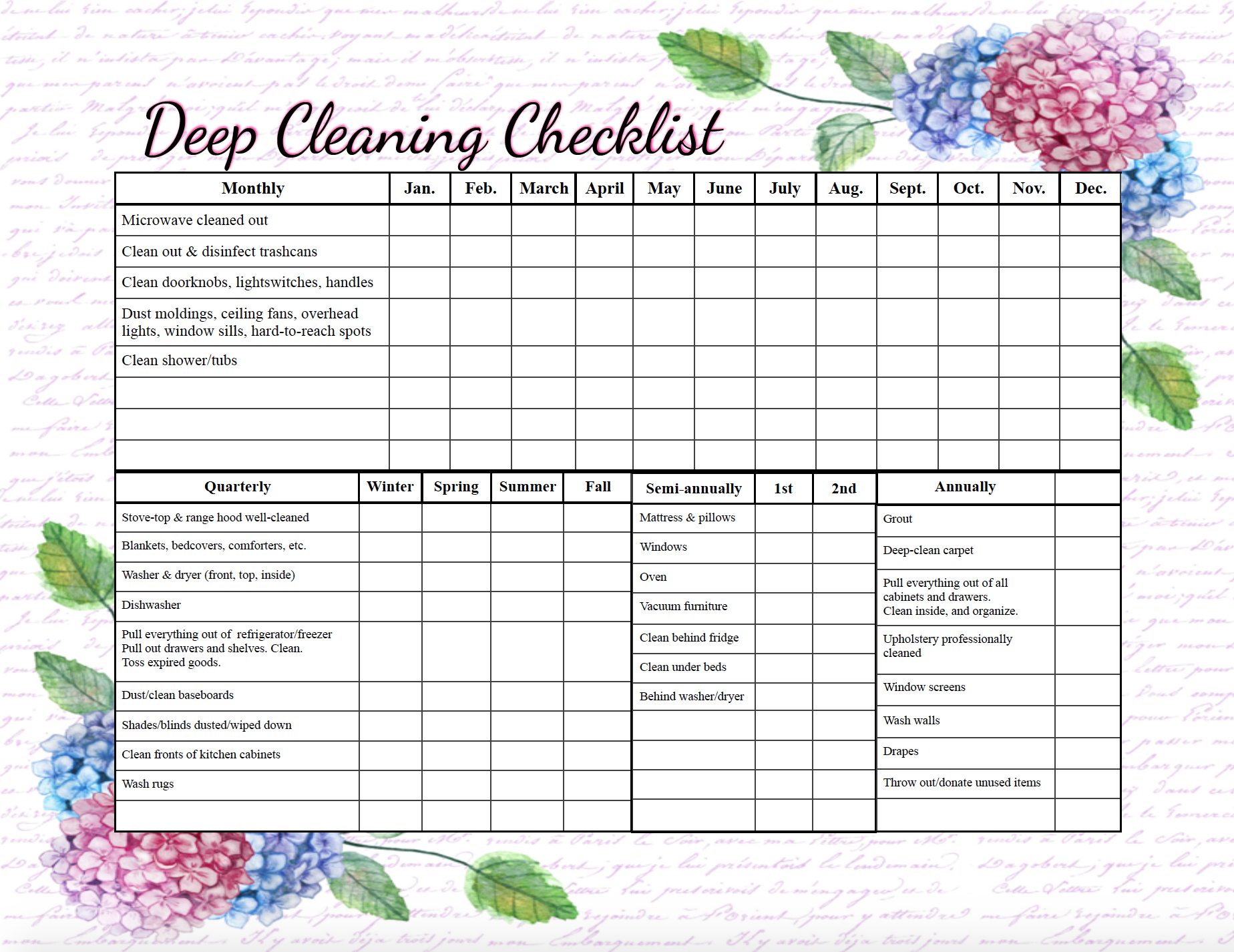This is a photo of Nifty Free Printable Cleaning Checklist