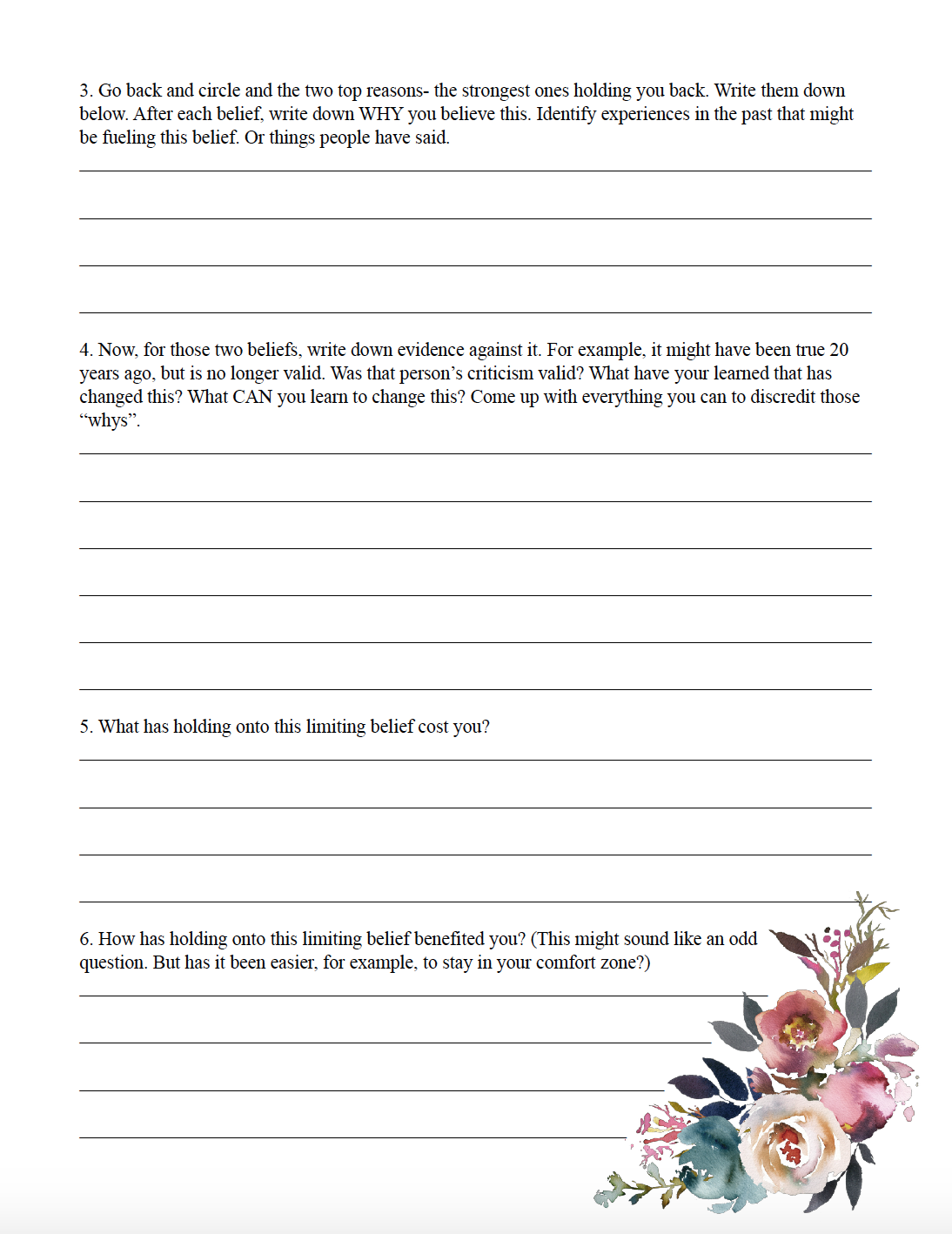 Limiting beliefs worksheet. What Everyone Ought to Know About Success. 10 Steps to Be More Persistent. Action steps you can take to reach your goals and be successful.