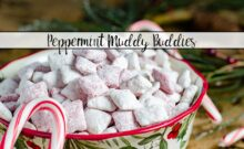 Peppermint Muddy Buddies/ Candy Cane Muddy Buddies. Easy, delicious snack loaded with peppermint flavor. Perfect treat for Christmas.